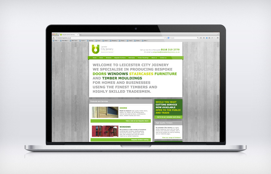 Web Design for Leicester City Joinery